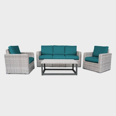Forsyth 5pc Wicker Patio Seating Set - Teal - Leisure Made