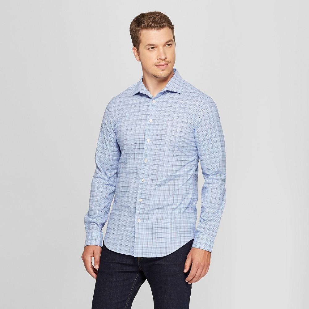 Men's Slim Fit Long Sleeve Button-Down Shirt - Goodfellow & Co Horizon Blue XL