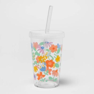 12oz Plastic Tritan Floral Tumbler with Straw - Spritz™