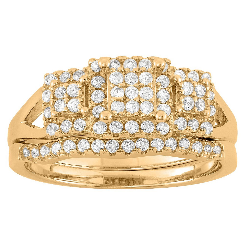 0.65 CT. T.W. Cubic Zirconia Pave 2 piece Ring Set In 14K Gold Over Silver - (7), Girl's, Yellow
