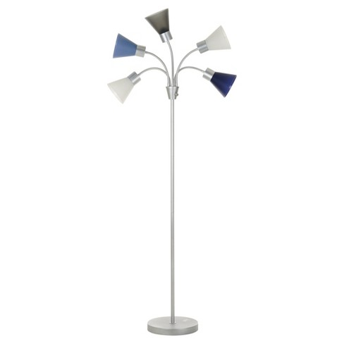 5 head floor lamp blue shade with silver frame target. Black Bedroom Furniture Sets. Home Design Ideas