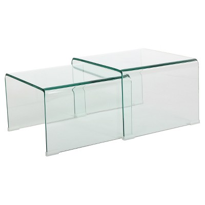 Set of 2 Ramona Nesting Tables Glass - Christopher Knight Home