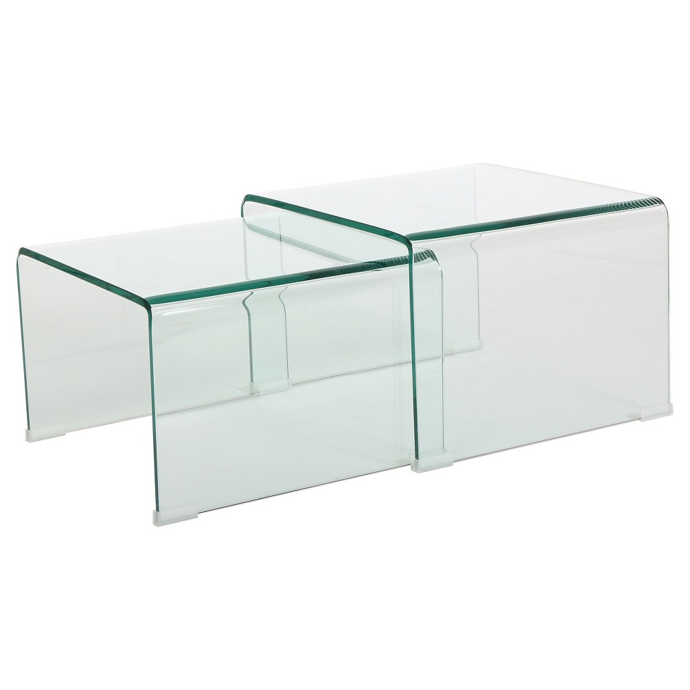 Ramona Nesting Tables Glass (Set of 2) - Christopher Knight Home, Clear