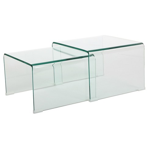 Ramona Nesting Tables Glass (Set of 2) - Christopher Knight Home - image 1 of 4