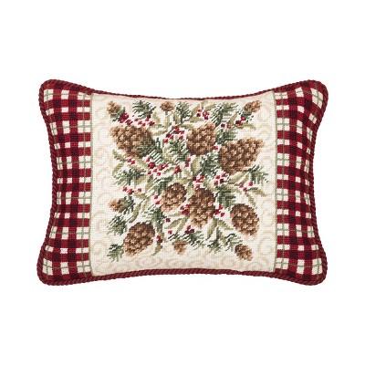 "C&F Home 12"" x 16"" Rustic Pine Needlepoint Christmas Holiday Throw Pillow"
