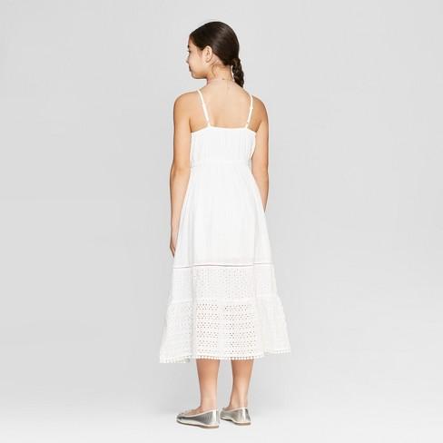 76cc2a70c82 Girls  Eyelet Maxi Dress - Cat   Jack™ White   Target