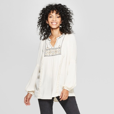 65a1416afcdd7e Women s Long Sleeve V-Neck Embroidered Peasant Top - Knox Rose™ Ivory