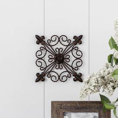 "8"" Square Medallion Metal Wall Art Black Espresso - Lavish Home"