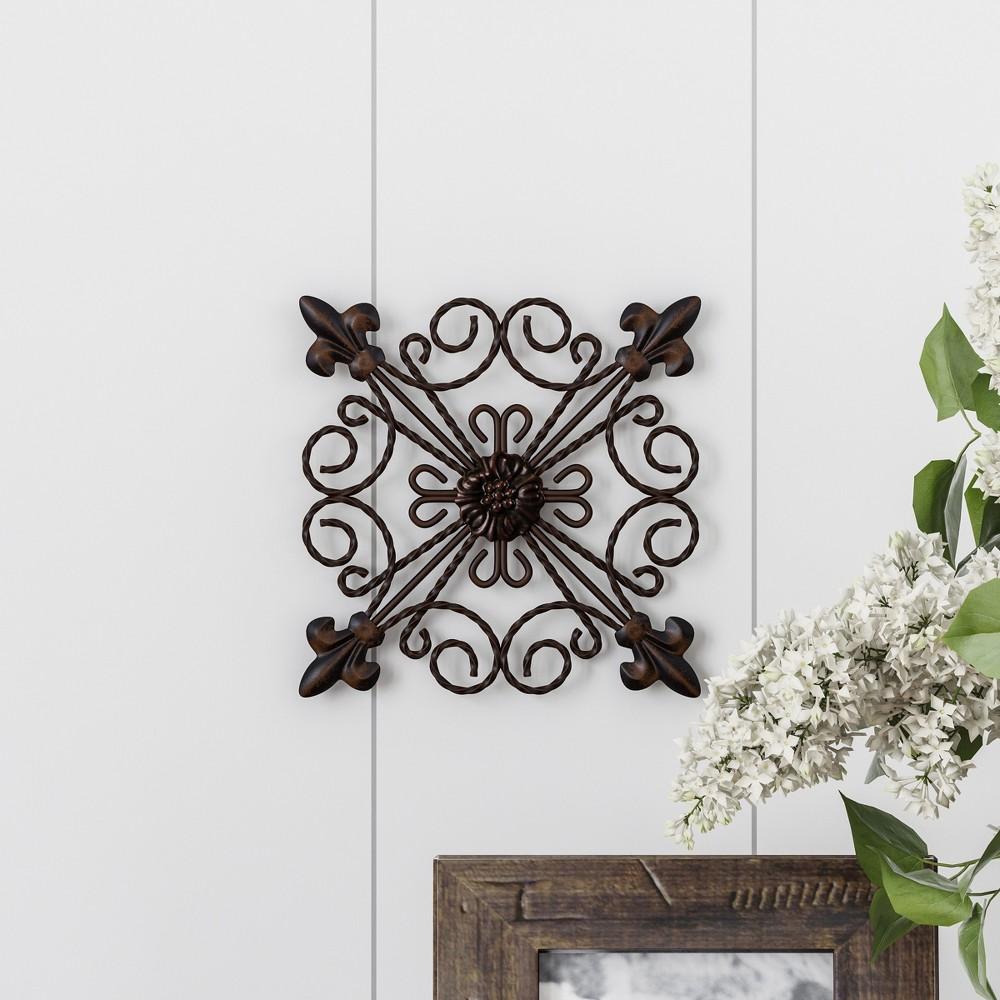 8 Square Medallion Metal Wall Art Black Espresso - Lavish Home