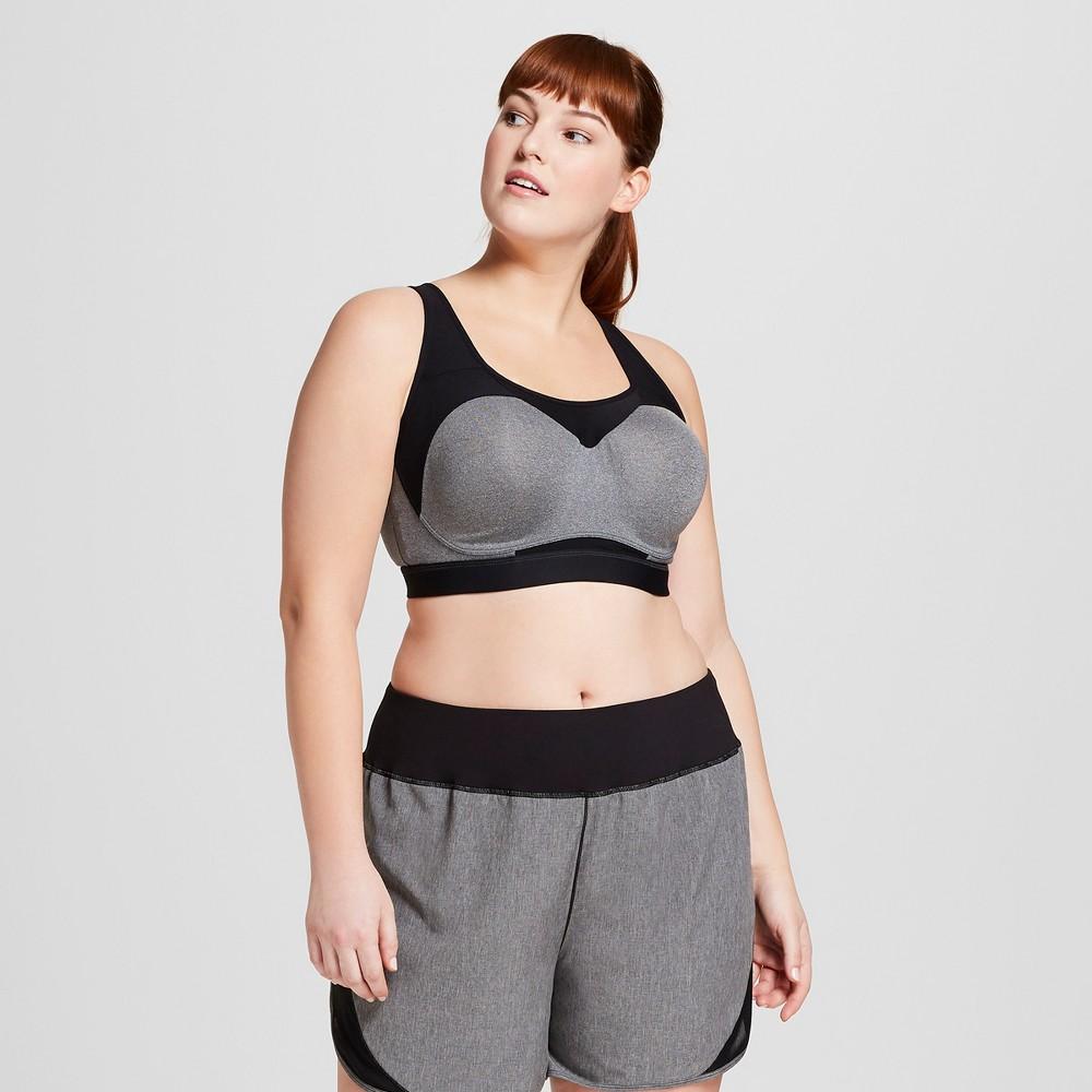 Women's Plus-Sized Max Support Power Shape Underwire Sports Bra - C9 Champion Dark Heather Gray 44D