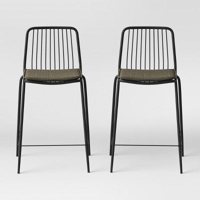 Set of 2 Sodra Rounded Seat Wire Counter Height Barstool Black - Project 62™