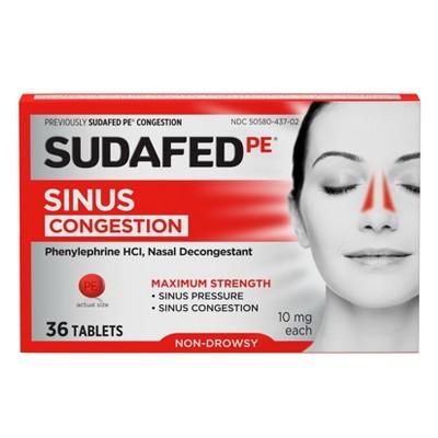 Sudafed PE Maximum Strength Congestion & Sinus Pressure Relief Tablets - 36ct