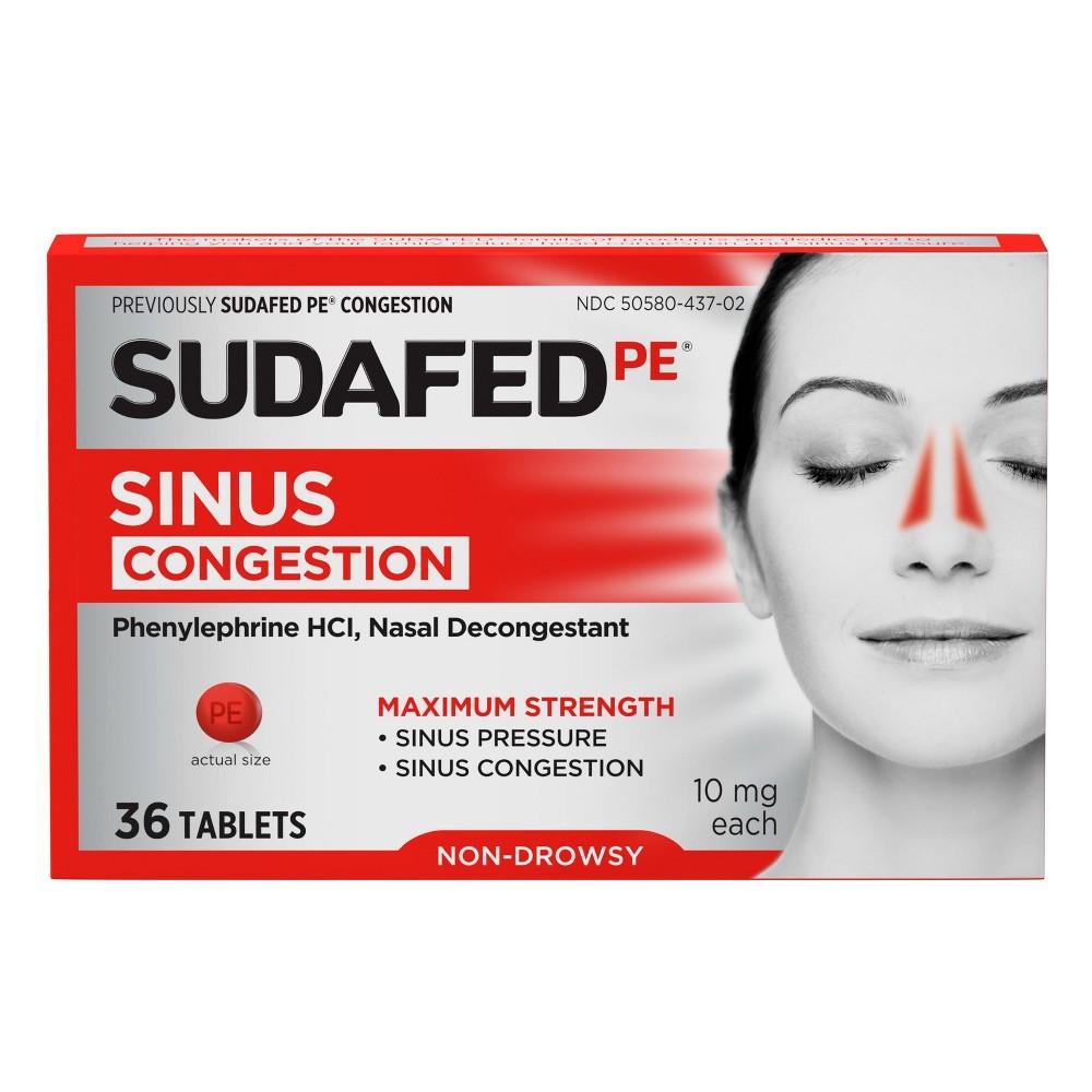 Sudafed Pe Maximum Strength Congestion Sinus Pressure Relief Tablets 36ct