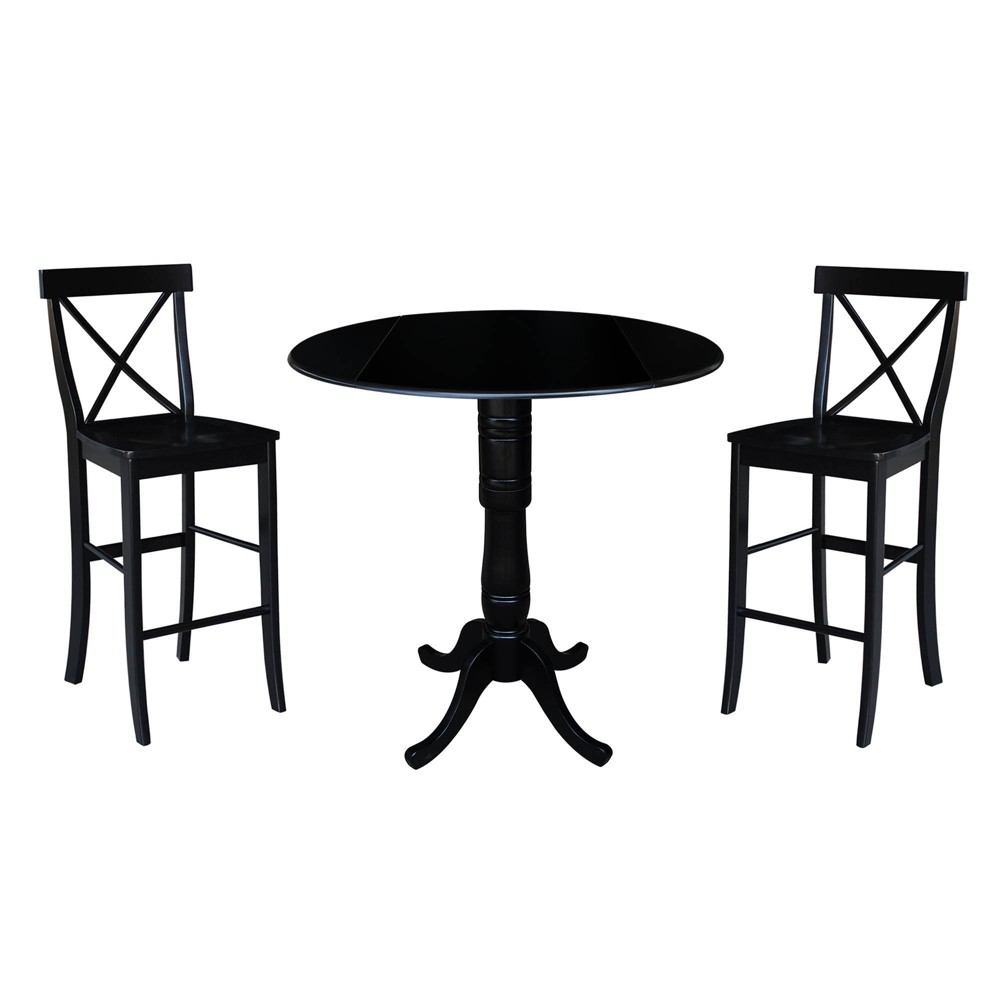 41.5 Round Pedestal Bar Height Table with 2 Bar Height Stools Black - International Concepts