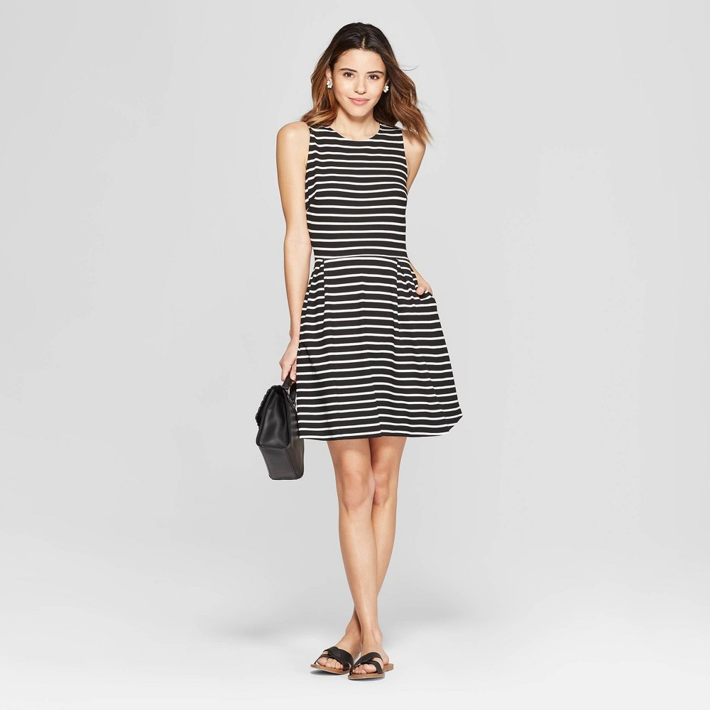 Women's Striped Sleeveless Crewneck Fit and Flare Ponte Dress - A New Day Black/White Xxl