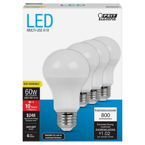 Feit A19 60-Watt LED Light Bulb (4 Pack) - Soft White - image 1 of 2