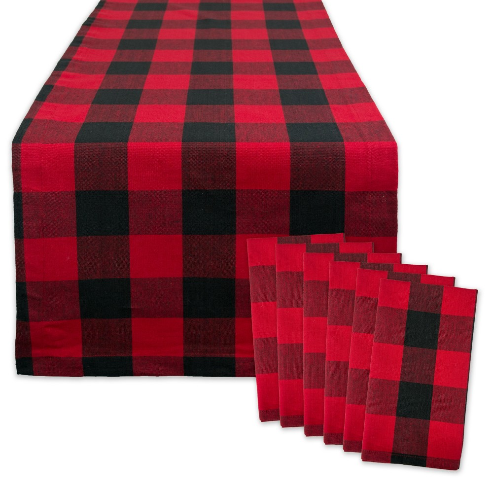 Logger Check Table Runner & Napkin Set Red/Black - Design Imports