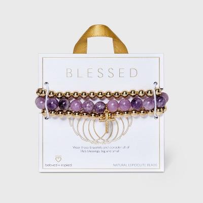 Beloved + Inspired Gold Granite with Cross Trio Stretch Bead Bracelet Set - Purple