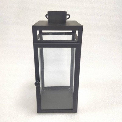"16"" x 7"" Decorative Metal Lantern Candle Holder Matte Black - Threshold™"