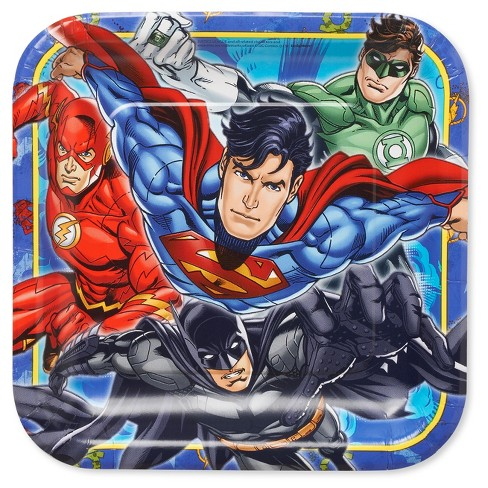 "Justice League 9"" Paper Plates - 8ct - image 1 of 3"