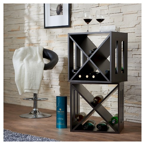 Camron Modern Crate Inspired X Shape Wine Rack Espresso Homes Inside Out Target