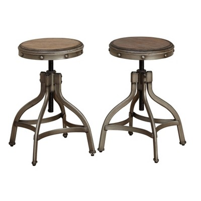 Set of 2 Adjustable Height Stools with Nailhead Pewter Silver - Buylateral