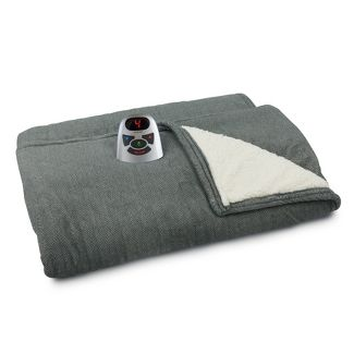Full/Queen Herringbone Microplush & Sherpa Electric Bed Blanket Gray - Biddeford Blankets