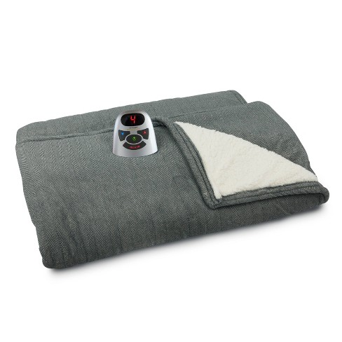NEW Biddeford Blankets Sherpa Electric Blanket Size:Queen Gray