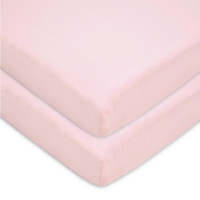 TL Care Fitted Cotton Playard Sheet - Pink - 2pk