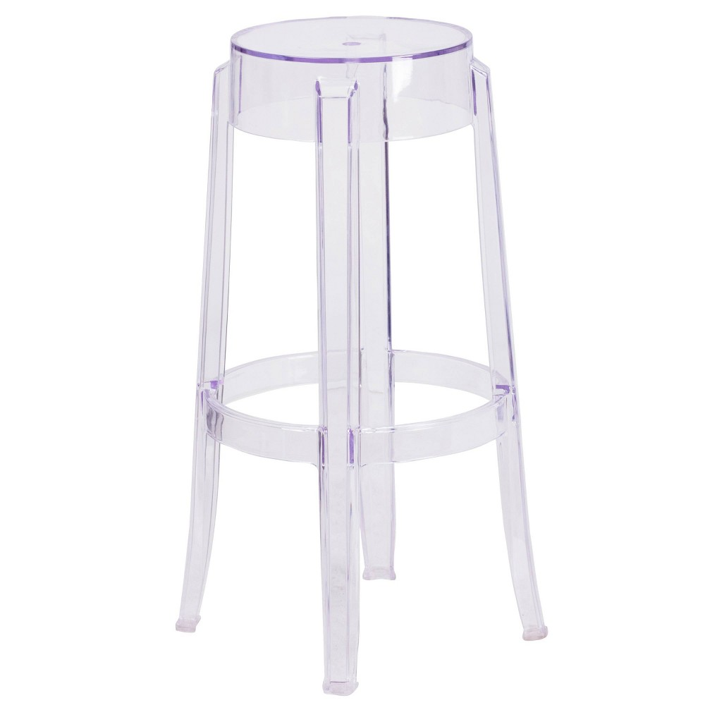 "Image of ""24.5"""" Riverstone Furniture Collection H Leather Barstool Clear"""