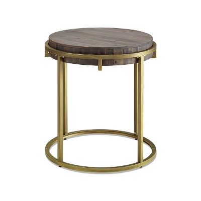 Samuel Round End Table Brown/Gold - Steve Silver Co.