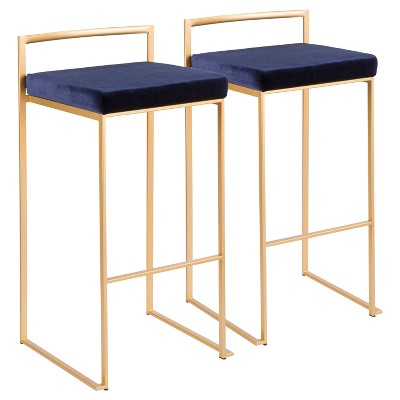 Set of 2 Fuji Contemporary Glam Stackable Barstools - LumiSource
