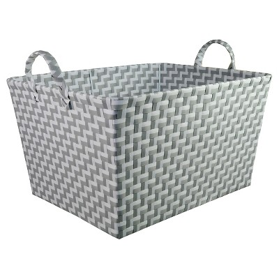 Rectangular Woven Toy Storage Bin Gray and White - Pillowfort™