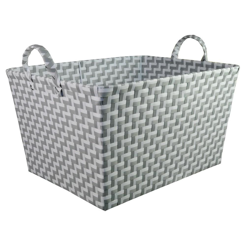 Image of Rectangular Woven Toy Storage Bin Gray and White - Pillowfort