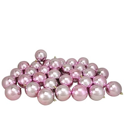 "Northlight 32ct Shatterproof Shiny Christmas Ball Ornament Set 3.25"" - Pink"