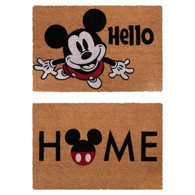 Mickey Mouse 2pk Home Hello Coir Door Mats
