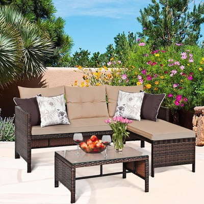 Costway 3PCS Patio Wicker Rattan Sofa Set Outdoor Sectional Conversation Set