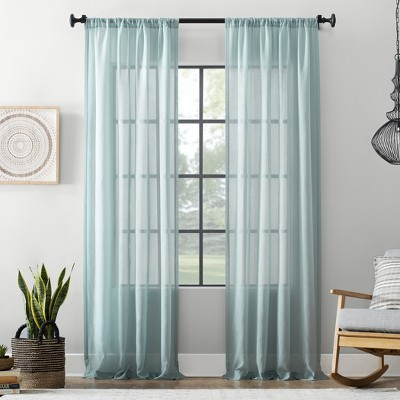 54 x84  Textured Cotton Blend Sheer Curtain Aqua - Archaeo