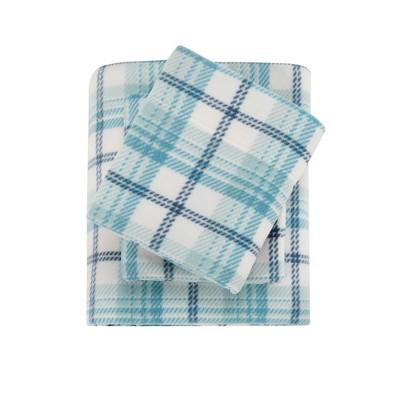 Micro Fleece Brushed Sheet Set (Queen)Aqua Plaid
