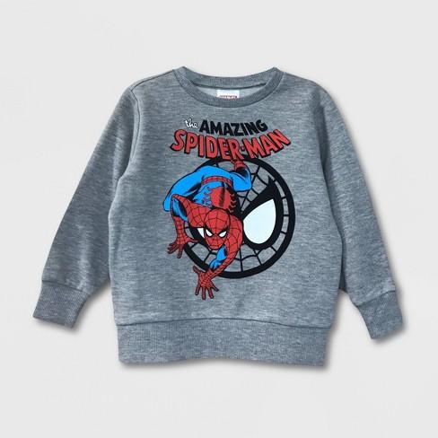 Toddler Boys' Amazing Spider-Man Pullover Fleece Sweatshirt - Gray - image 1 of 1