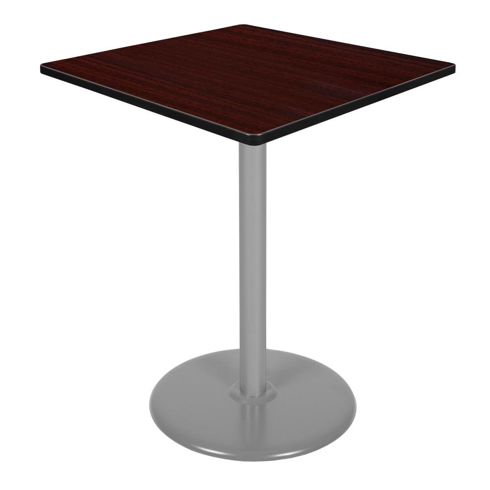 36 Via Cafe High Square Platter Base Table Mahogany/Gray (Brown/Gray) - Regency