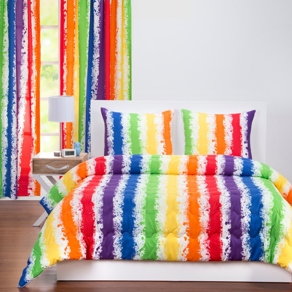 Image of Brain Waves Rainbow Stripe Comforter Set (Full/Queen) - Learning Linens