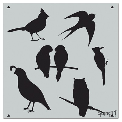 "Stencil1 Bird Grouping Repeating - Wall Stencil 11"" x 11"""