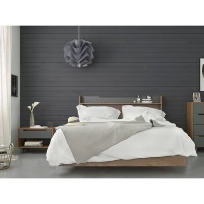 3pc Queen Neptune Bedroom Set Walnut/Charcoal - Nexera
