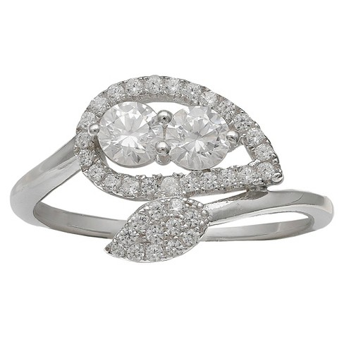 Women's Sterling Silver Pave Leaf Design With Swarovski CZ Ring - image 1 of 2