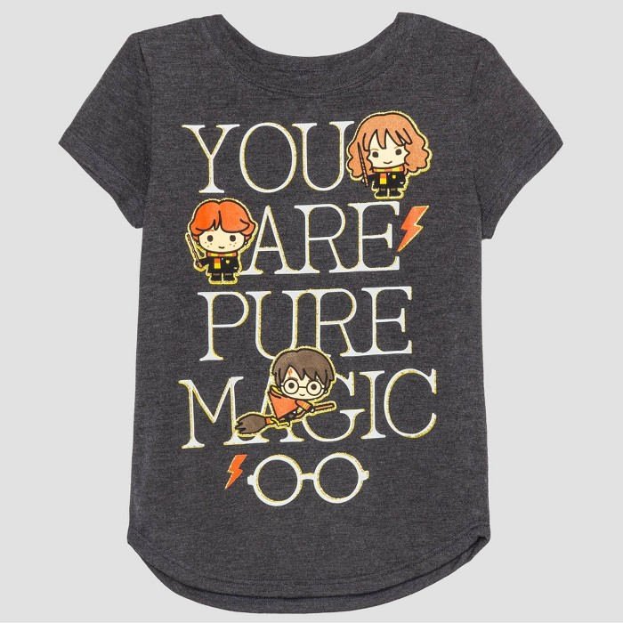 Toddler Girls' Harry Potter Short Sleeve T-Shirt - Gray - image 1 of 2