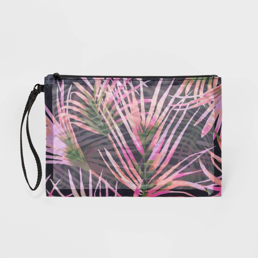 Image of Palm Print Mesh Pouch Clutch - Shade & Shore , MultiColored