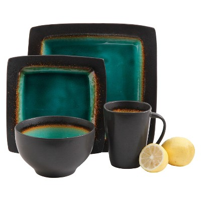 Gibson Select Ocean Paradise 16pc Dinnerware Set Jade Crackle