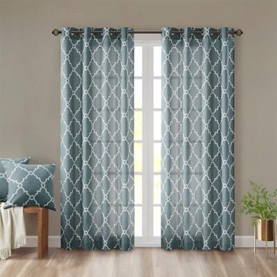 "63""x50"" Sereno Fretwork Print Light Filtering Curtain Panel Blue"