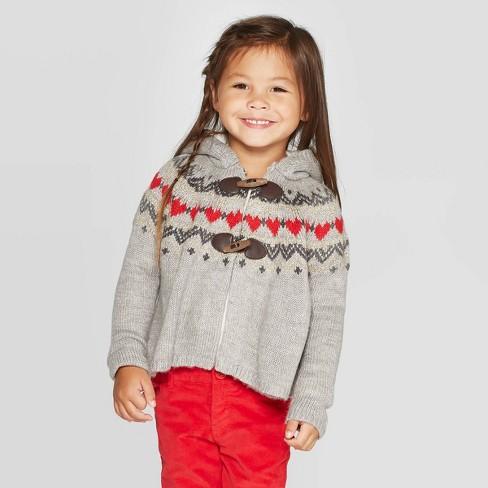 OshKosh B'gosh Toddler Girls' Fair Isle Hooded Toggle Cardigan - Gray - image 1 of 3